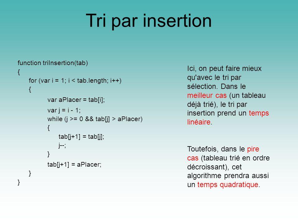 Tri par insertion function triInsertion(tab) { for (var i = 1; i < tab.length; i++) { var aPlacer = tab[i]; var j = i - 1; while (j >= 0 && tab[j] > aPlacer) { tab[j+1] = tab[j]; j--; } tab[j+1] = aPlacer; } Ici, on peut faire mieux qu avec le tri par sélection.