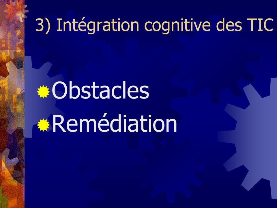 3) Intégration cognitive des TIC Obstacles Remédiation