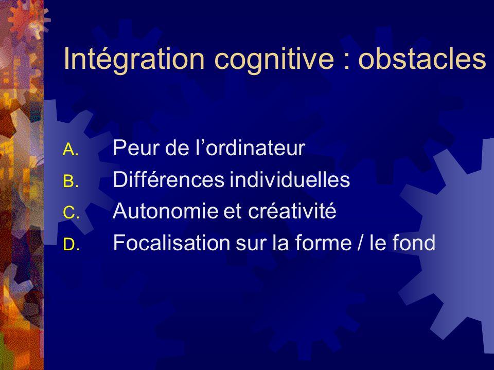 Intégration cognitive : obstacles A. Peur de lordinateur B.
