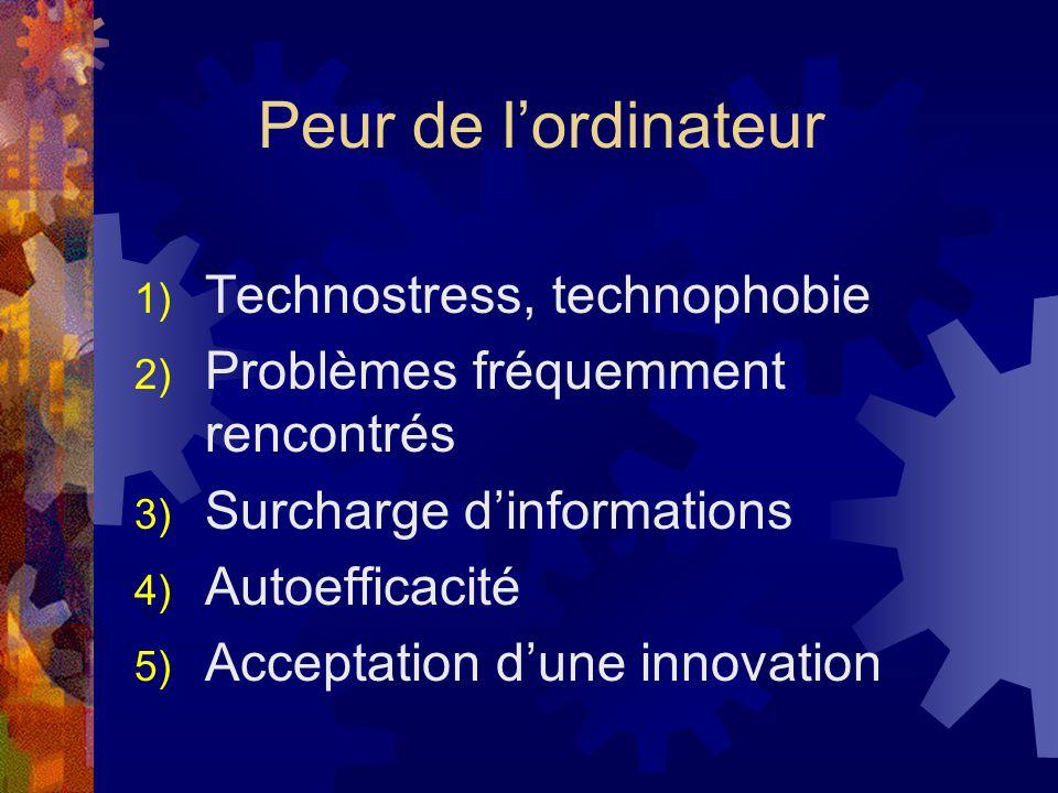 Peur de lordinateur 1) Technostress, technophobie 2) Problèmes fréquemment rencontrés 3) Surcharge dinformations 4) Autoefficacité 5) Acceptation dune innovation