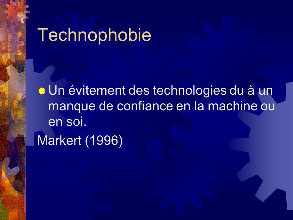 Technophobie Un évitement des technologies du à un manque de confiance en la machine ou en soi.