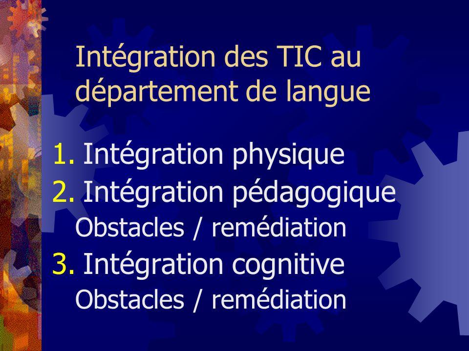Intégration des TIC au département de langue 1.Intégration physique 2.Intégration pédagogique Obstacles / remédiation 3.Intégration cognitive Obstacles / remédiation