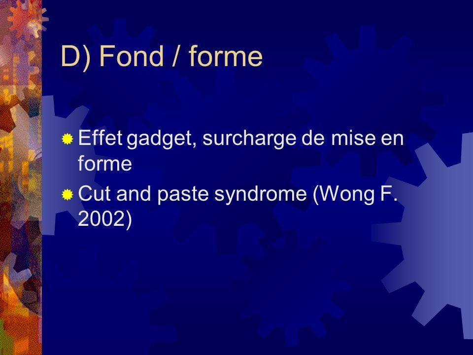 D) Fond / forme Effet gadget, surcharge de mise en forme Cut and paste syndrome (Wong F. 2002)