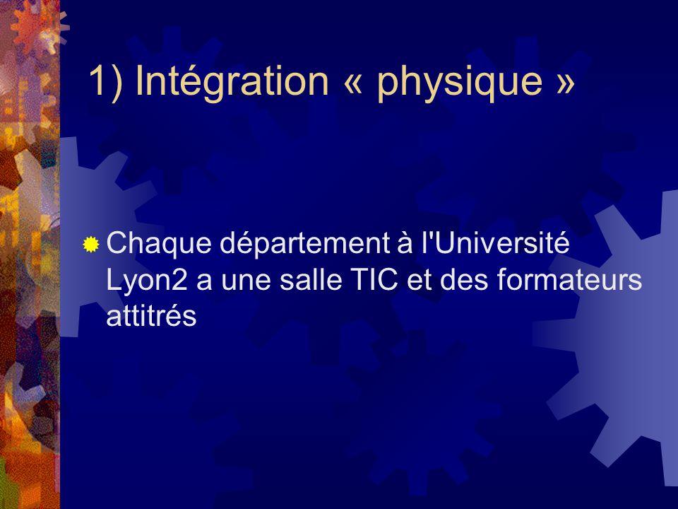1) Intégration « physique » Chaque département à l Université Lyon2 a une salle TIC et des formateurs attitrés