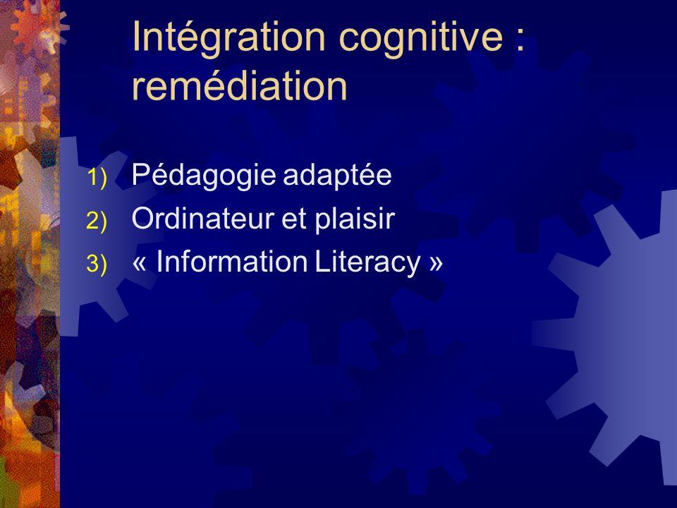 Intégration cognitive : remédiation 1) Pédagogie adaptée 2) Ordinateur et plaisir 3) « Information Literacy »