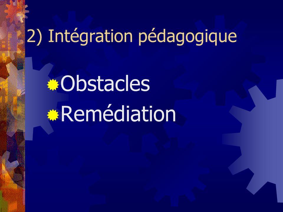 2) Intégration pédagogique Obstacles Remédiation