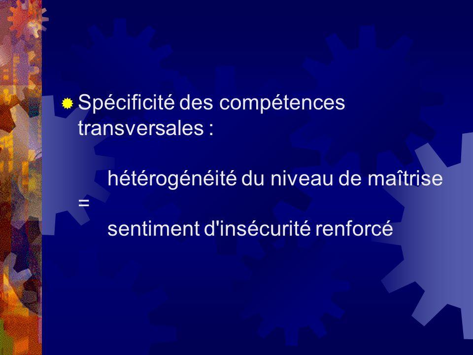 Spécificité des compétences transversales : hétérogénéité du niveau de maîtrise = sentiment d insécurité renforcé