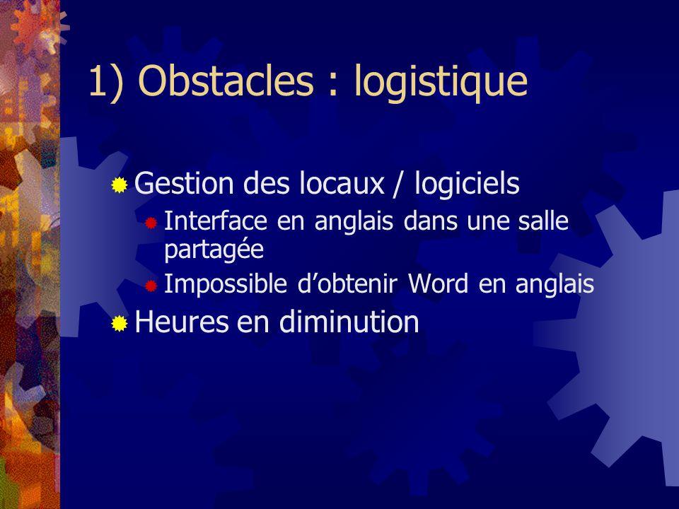 1) Obstacles : logistique Gestion des locaux / logiciels Interface en anglais dans une salle partagée Impossible dobtenir Word en anglais Heures en diminution