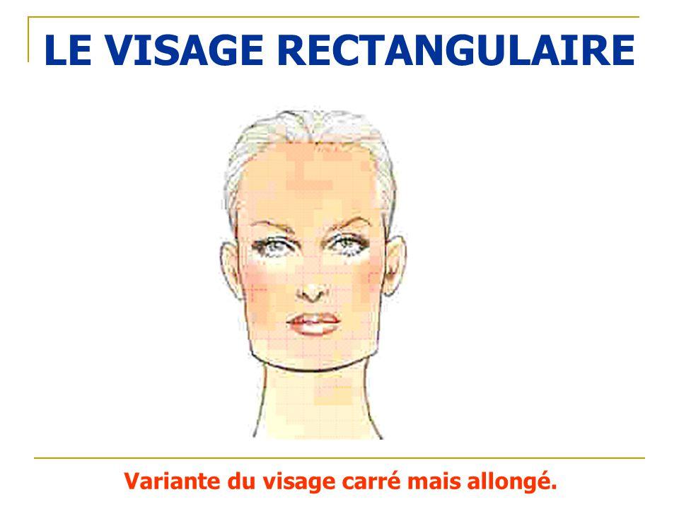 LE VISAGE RECTANGULAIRE Variante du visage carré mais allongé.