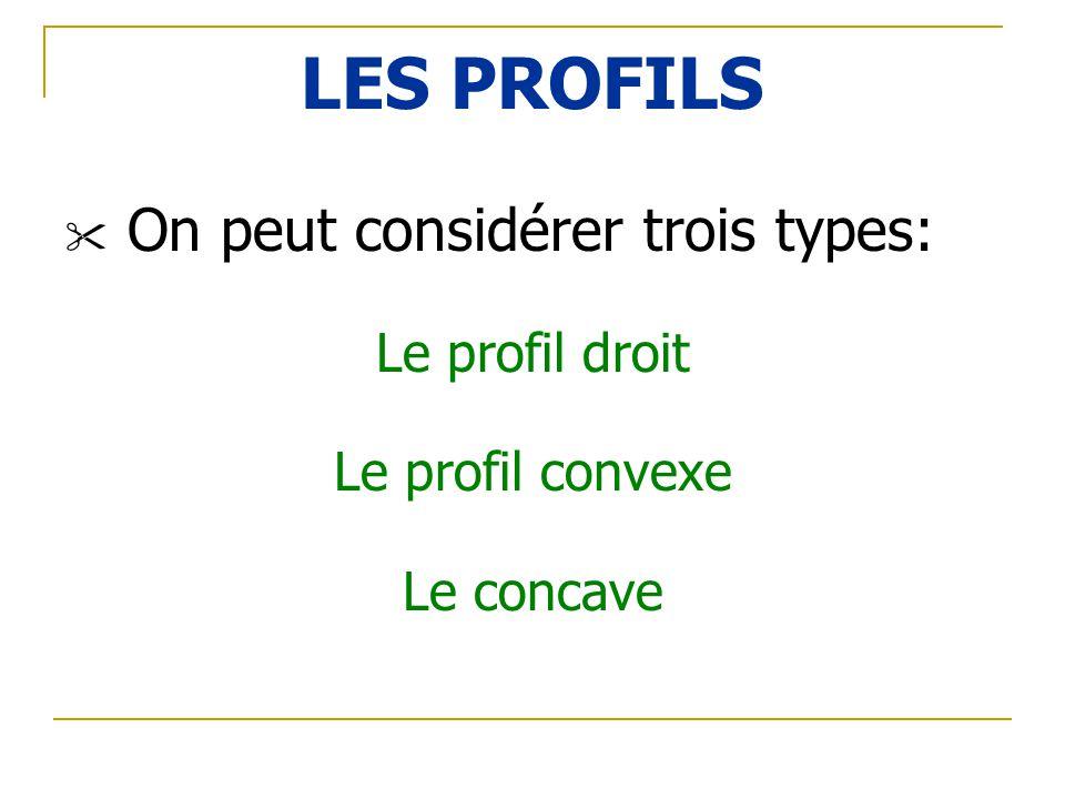 LES PROFILS On peut considérer trois types: Le profil droit Le profil convexe Le concave