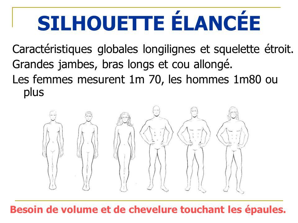 SILHOUETTE ÉLANCÉE Caractéristiques globales longilignes et squelette étroit. Grandes jambes, bras longs et cou allongé. Les femmes mesurent 1m 70, le