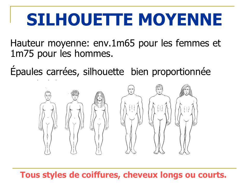 SILHOUETTE MOYENNE Hauteur moyenne: env.1m65 pour les femmes et 1m75 pour les hommes. Épaules carrées, silhouette bien proportionnée Tous styles de co