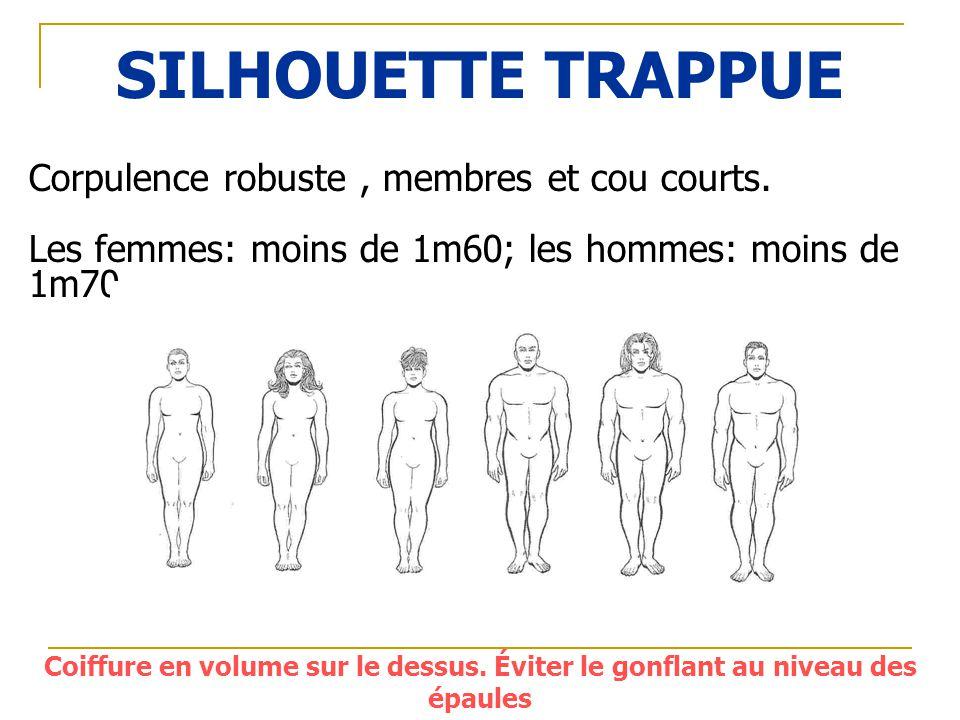 SILHOUETTE TRAPPUE Corpulence robuste, membres et cou courts. Les femmes: moins de 1m60; les hommes: moins de 1m70. Coiffure en volume sur le dessus.