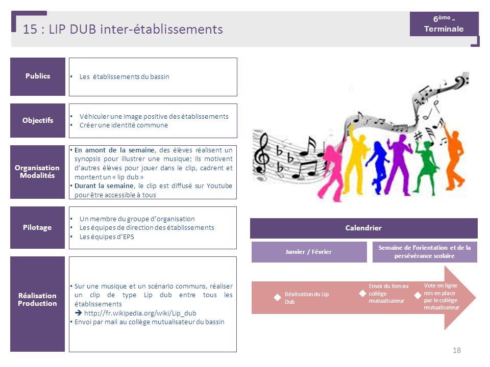 15 : LIP DUB inter-établissements Publics Les établissements du bassin Organisation Modalités En amont de la semaine, des élèves réalisent un synopsis