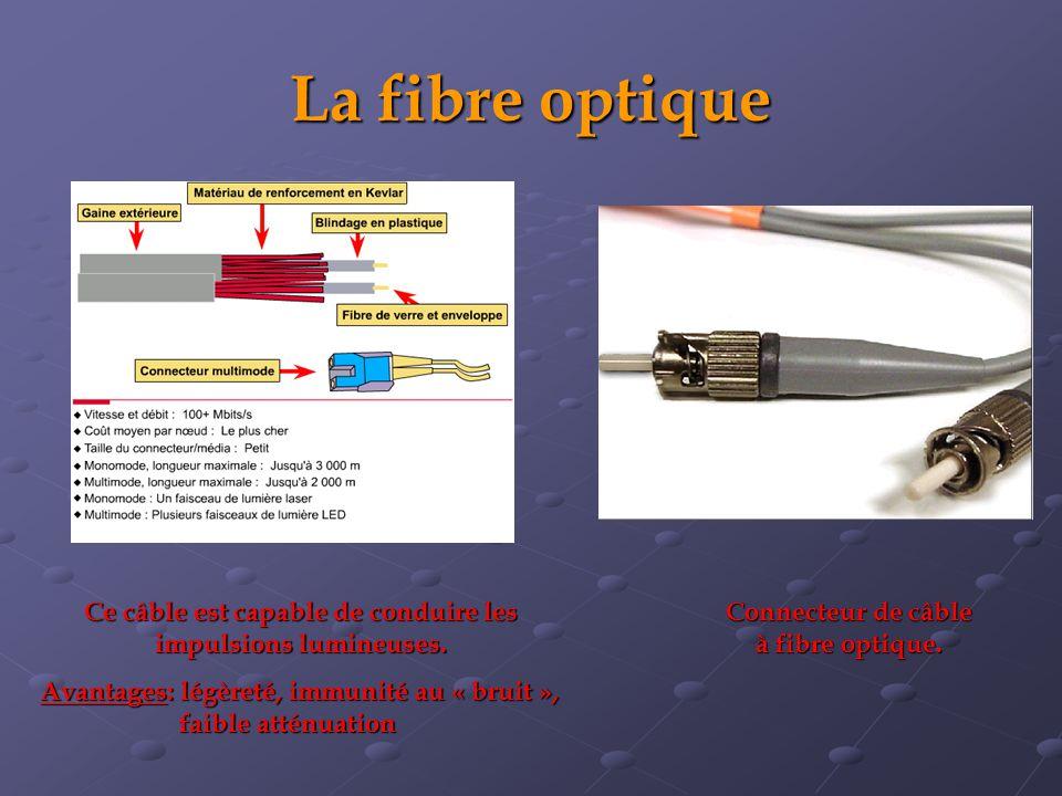 La fibre optique Connecteur de câble à fibre optique. Ce câble est capable de conduire les impulsions lumineuses. Avantages: légèreté, immunité au « b
