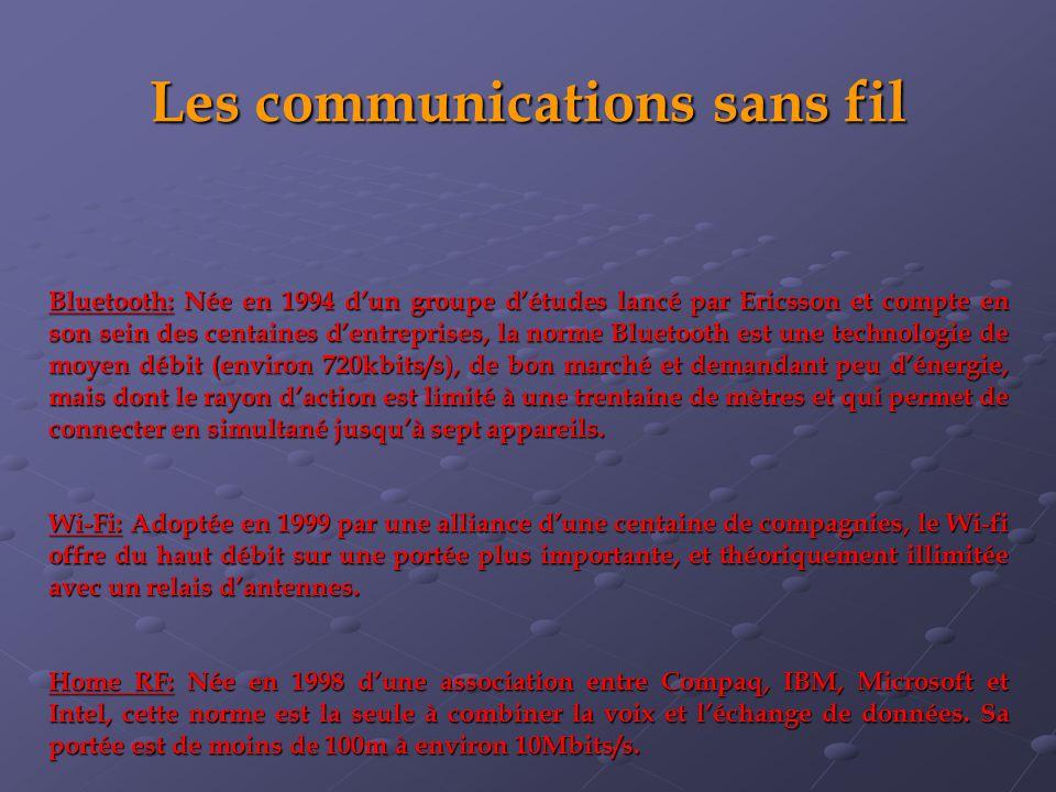 Les communications sans fil Bluetooth: Née en 1994 dun groupe détudes lancé par Ericsson et compte en son sein des centaines dentreprises, la norme Bl