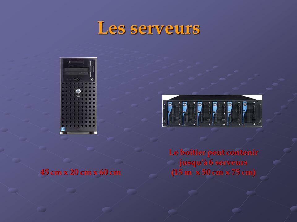 Les serveurs Le boîtier peut contenir jusqu à 6 serveurs (15 m x 50 cm x 75 cm) 45 cm x 20 cm x 60 cm
