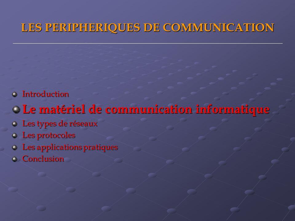 LES PERIPHERIQUES DE COMMUNICATION Introduction Le matériel de communication informatique Les types de réseaux Les protocoles Les applications pratiques Conclusion