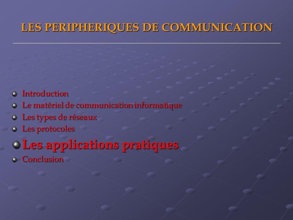 LES PERIPHERIQUES DE COMMUNICATION Introduction Le matériel de communication informatique Les types de réseaux Les protocoles Les applications pratiqu