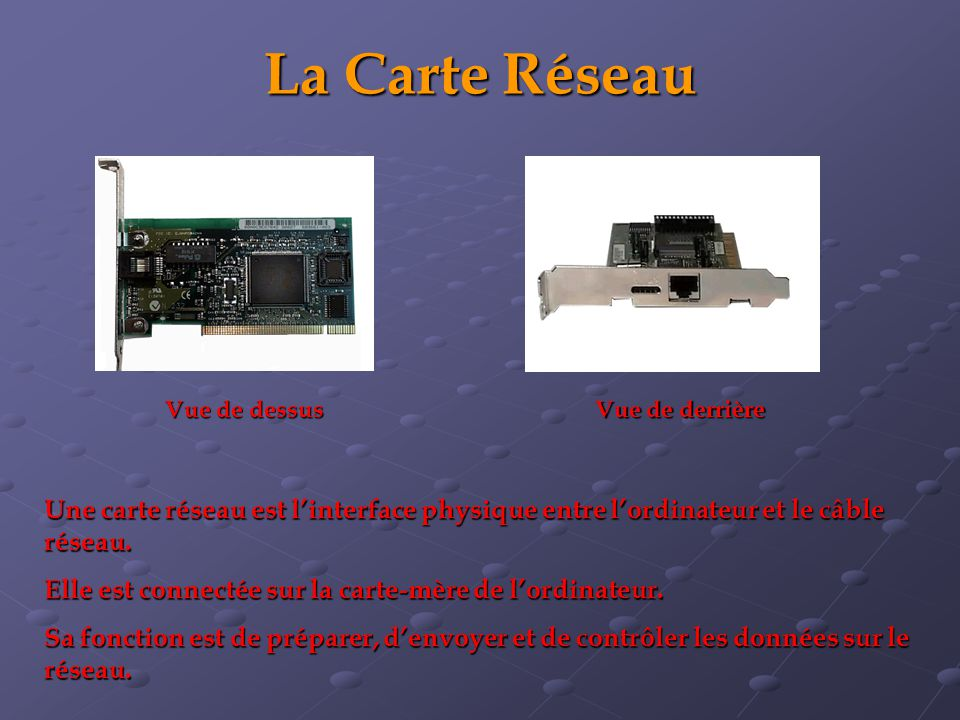 La Carte Réseau Une carte réseau est linterface physique entre lordinateur et le câble réseau. Elle est connectée sur la carte-mère de lordinateur. Sa