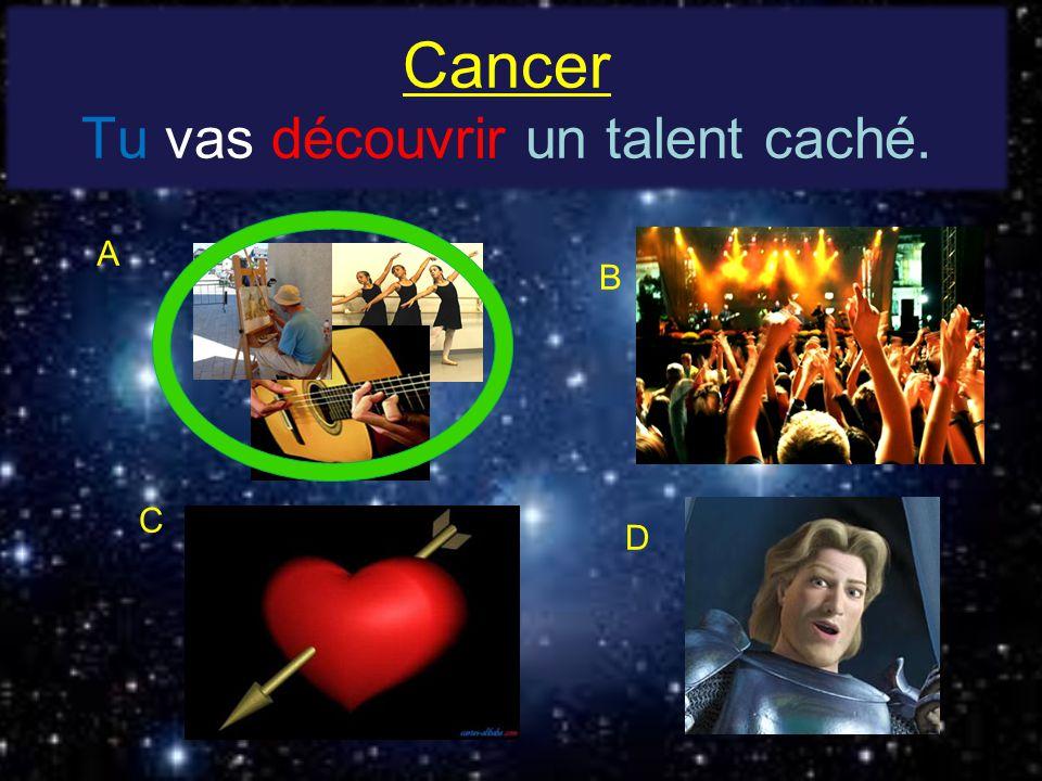 Cancer Tu vas découvrir un talent caché. A B C D