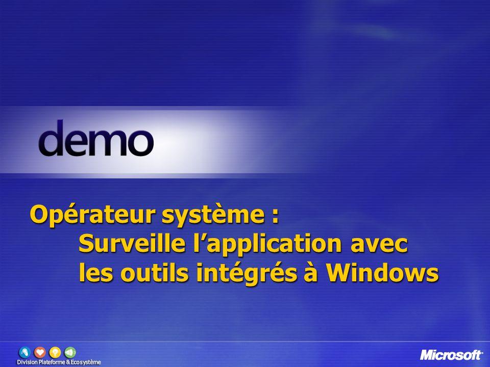 Opérateur système : Surveille lapplication avec les outils intégrés à Windows