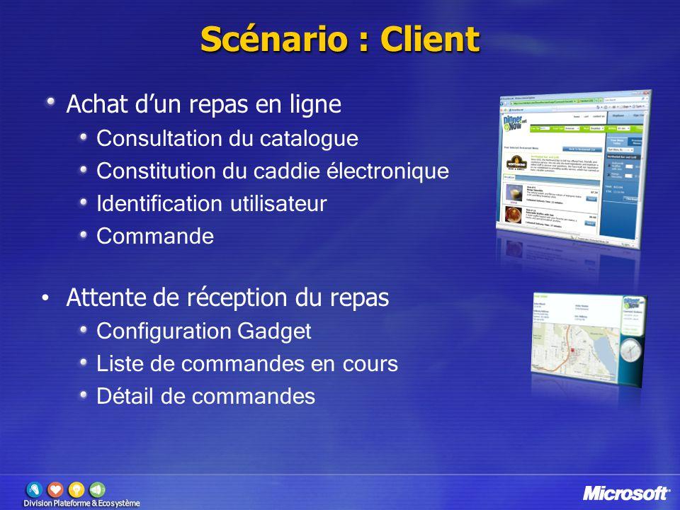Scénario : Client Achat dun repas en ligne Consultation du catalogue Constitution du caddie électronique Identification utilisateur Commande Attente d