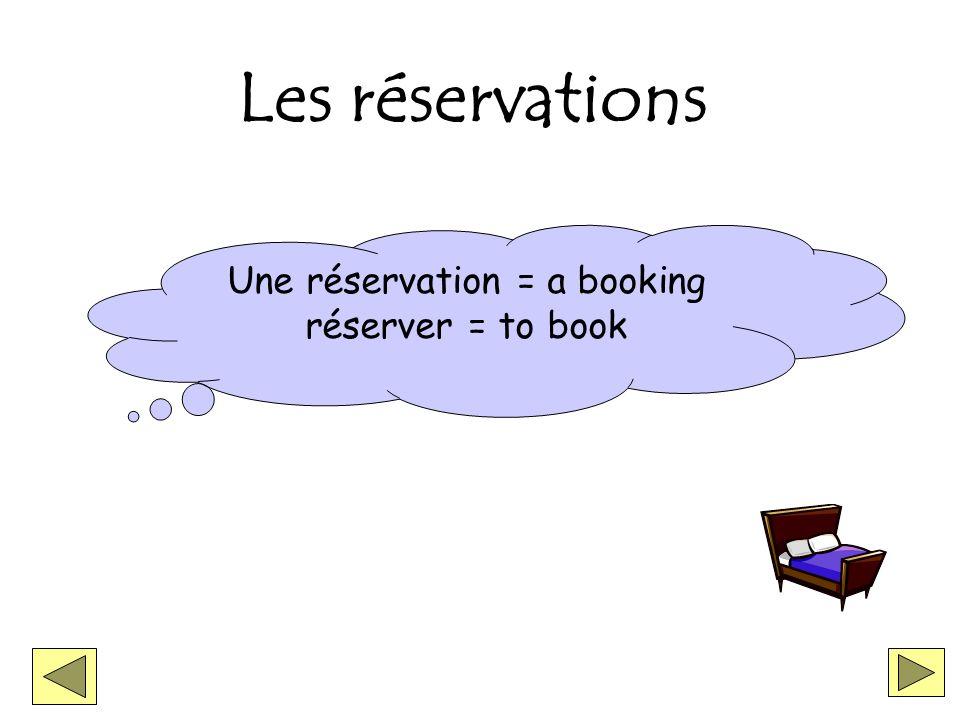 Les réservations Une réservation = a booking réserver = to book