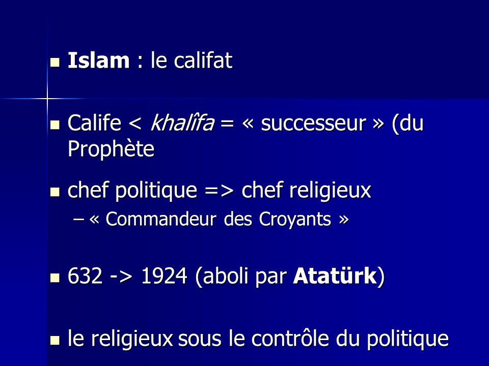 Islam : le califat Islam : le califat Calife < khalîfa = « successeur » (du Prophète Calife < khalîfa = « successeur » (du Prophète chef politique => chef religieux chef politique => chef religieux –« Commandeur des Croyants » 632 -> 1924 (aboli par Atatürk) 632 -> 1924 (aboli par Atatürk) le religieux sous le contrôle du politique le religieux sous le contrôle du politique