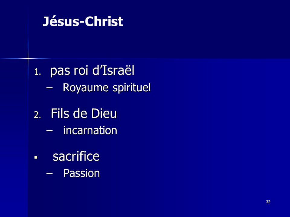 1.pas roi dIsraël –Royaume spirituel 2.