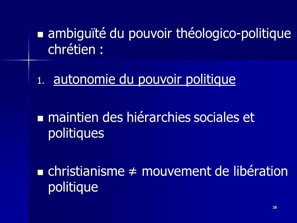 ambiguïté du pouvoir théologico-politique chrétien : 1.