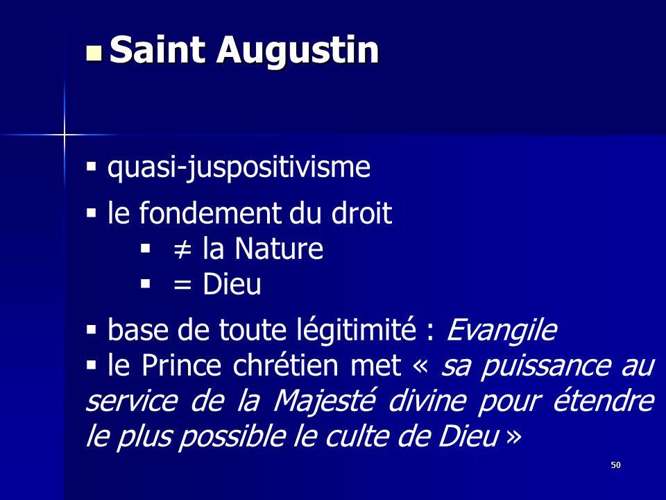 quasi-juspositivisme le fondement du droit la Nature = Dieu base de toute légitimité : Evangile le Prince chrétien met « sa puissance au service de la Majesté divine pour étendre le plus possible le culte de Dieu » Saint Augustin Saint Augustin 50