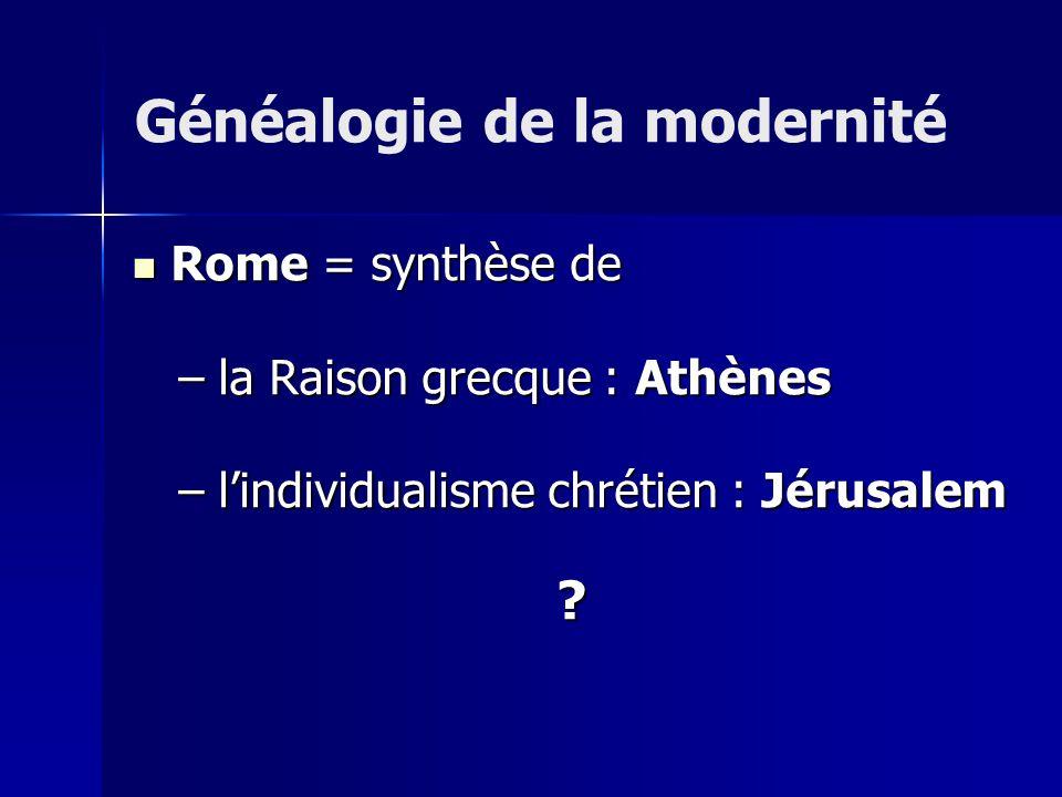 Rome = synthèse de Rome = synthèse de – la Raison grecque : Athènes – lindividualisme chrétien : Jérusalem .
