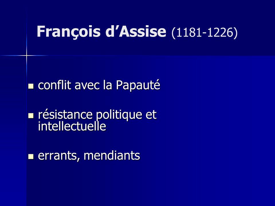 conflit avec la Papauté conflit avec la Papauté résistance politique et intellectuelle résistance politique et intellectuelle errants, mendiants errants, mendiants François dAssise (1181-1226)