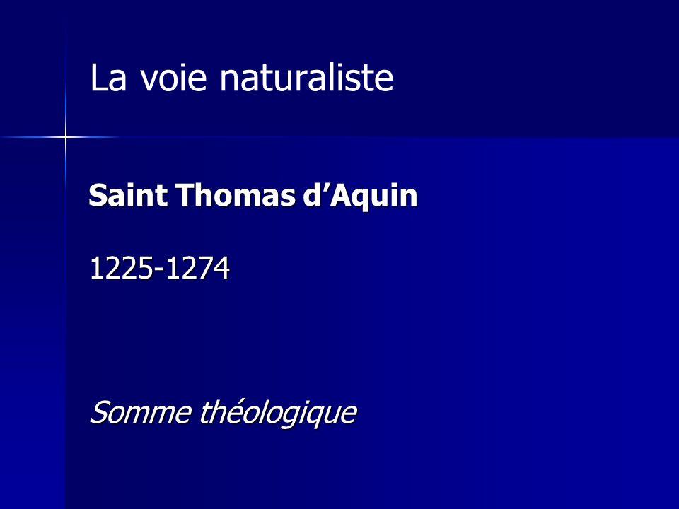 La voie naturaliste Saint Thomas dAquin 1225-1274 Somme théologique
