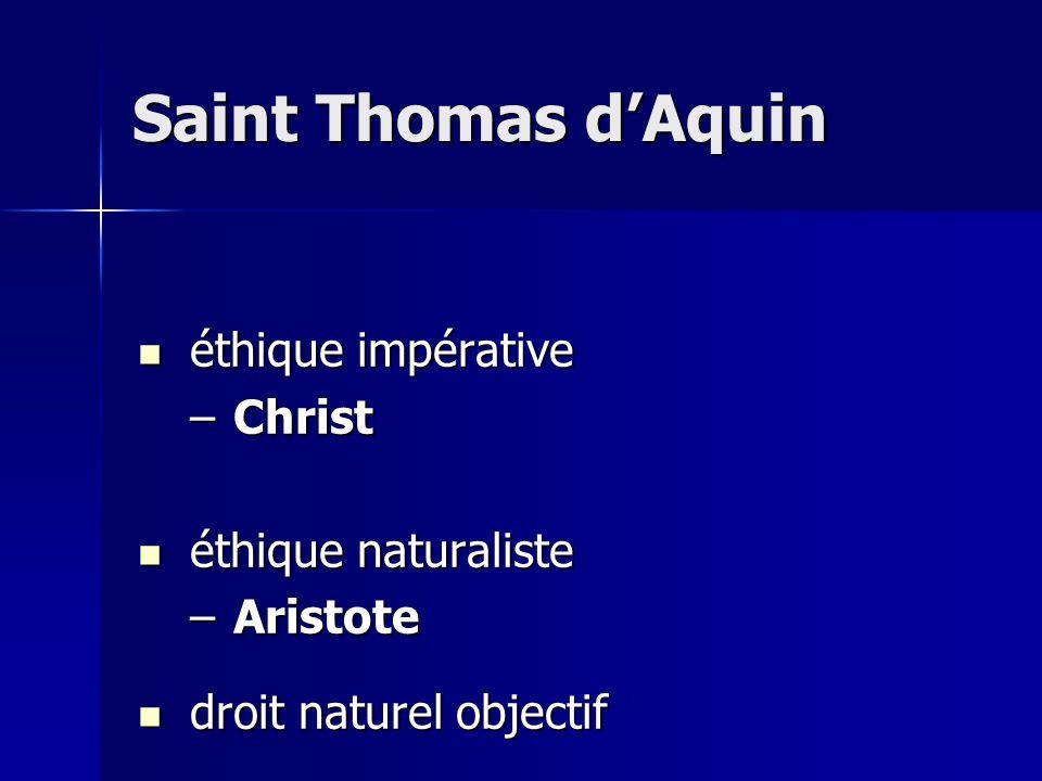éthique impérative éthique impérative –Christ éthique naturaliste éthique naturaliste –Aristote droit naturel objectif droit naturel objectif Saint Thomas dAquin
