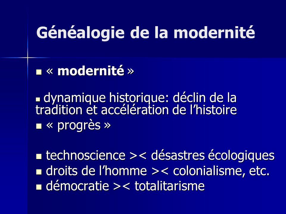« modernité » « modernité » dynamique historique: déclin de la tradition et accélération de lhistoire dynamique historique: déclin de la tradition et accélération de lhistoire « progrès » « progrès » technoscience > < désastres écologiques droits de lhomme > < colonialisme, etc.