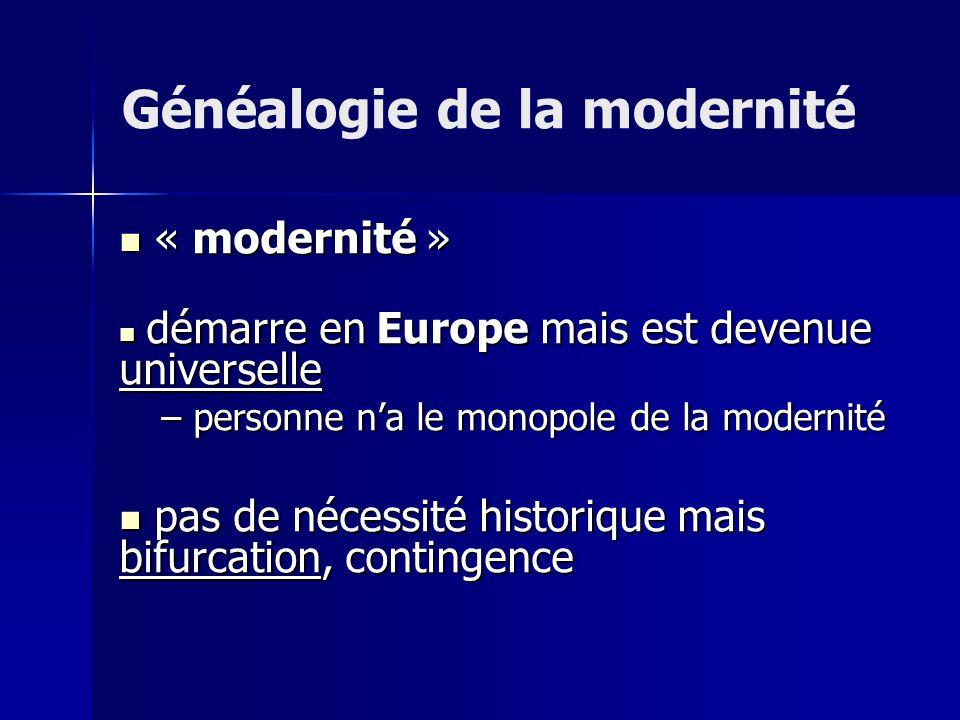 « modernité » « modernité » démarre en Europe mais est devenue universelle démarre en Europe mais est devenue universelle – personne na le monopole de la modernité pas de nécessité historique mais bifurcation, contingence pas de nécessité historique mais bifurcation, contingence Généalogie de la modernité