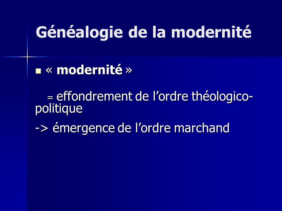 « modernité » « modernité » = effondrement de lordre théologico- politique = effondrement de lordre théologico- politique -> émergence de lordre marchand Généalogie de la modernité