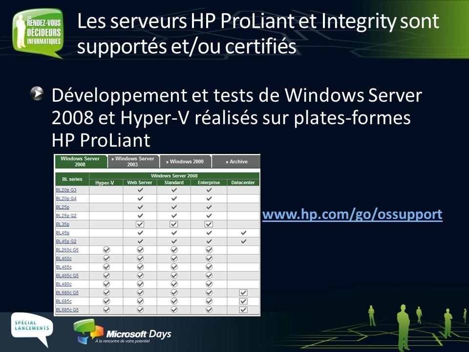 Les serveurs HP ProLiant et Integrity sont supportés et/ou certifiés Développement et tests de Windows Server 2008 et Hyper-V réalisés sur plates-form