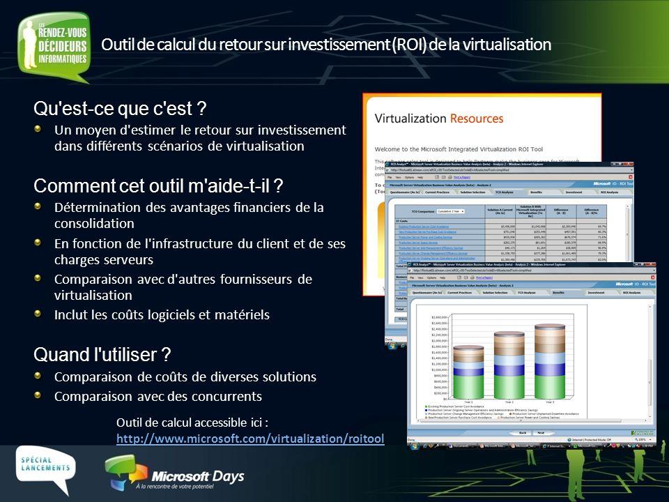 Outil de calcul du retour sur investissement (ROI) de la virtualisation http://www.microsoft.com/virtualization/roitool http://www.microsoft.com/virtu