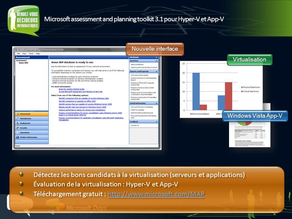 Microsoft assessment and planning toolkit 3.1 pour Hyper-V et App-V Windows Vista App-V VirtualisationVirtualisation Nouvelle interface Détectez les b