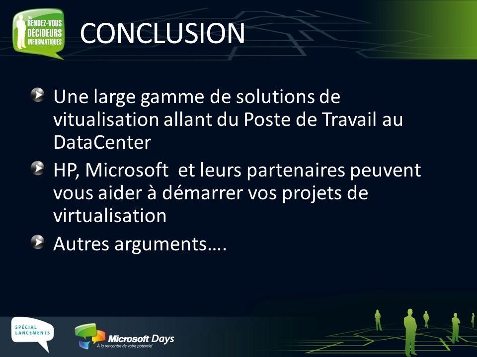 CONCLUSION Une large gamme de solutions de vitualisation allant du Poste de Travail au DataCenter HP, Microsoft et leurs partenaires peuvent vous aide