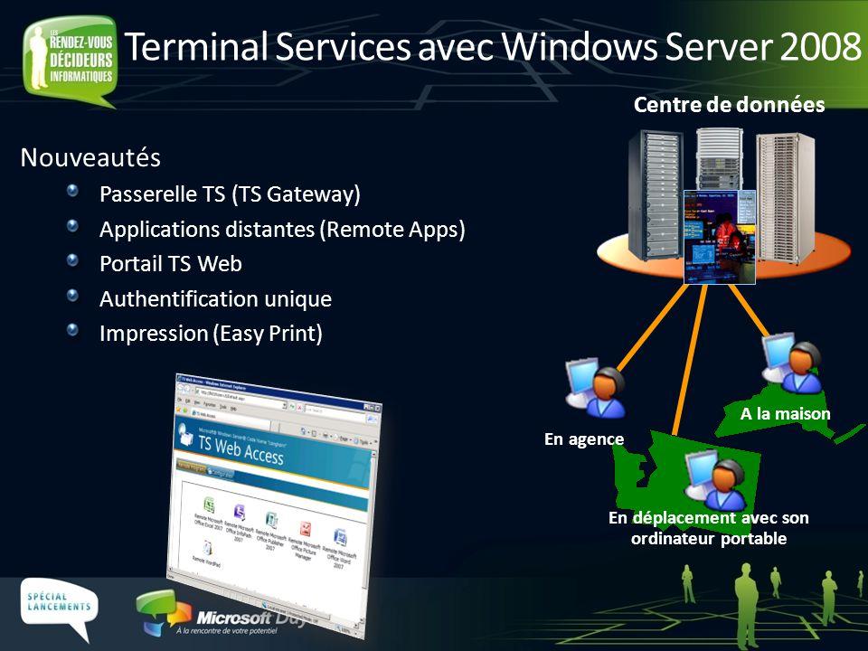 Terminal Services avec Windows Server 2008 Nouveautés Passerelle TS (TS Gateway) Applications distantes (Remote Apps) Portail TS Web Authentification