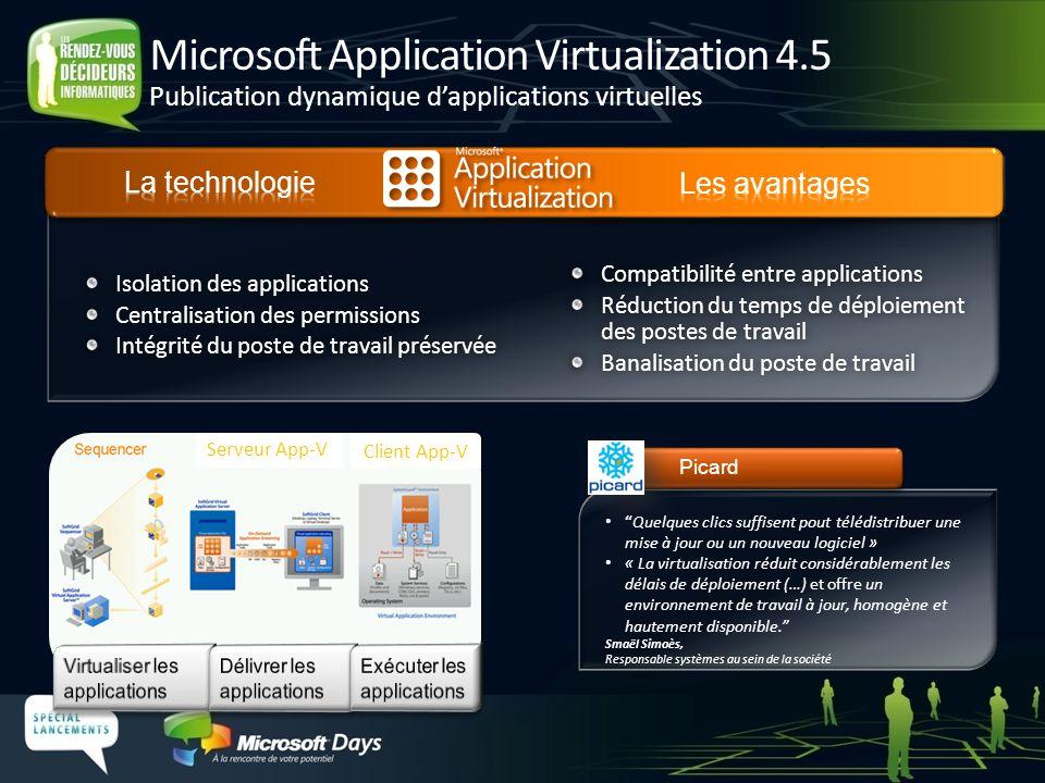 Virtualisation des applications Redirection de dossiers Fichiers Offline Paramètres, données et applications suivent lutilisateur Déployer les PC en utilisant la virtualisation et la redirection de dossiers Faciliter les déploiements