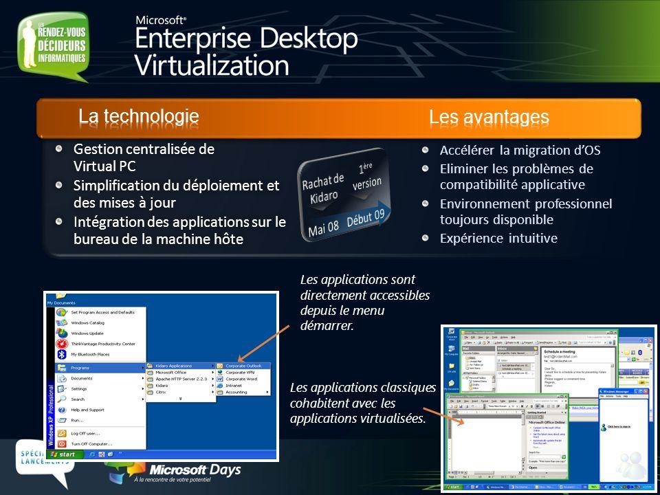 Les applications classiques cohabitent avec les applications virtualisées. Les applications sont directement accessibles depuis le menu démarrer. Gest