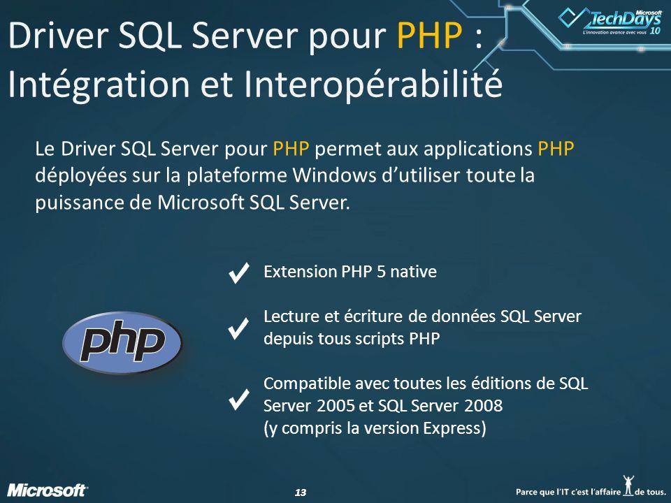 13 Driver SQL Server pour PHP : Intégration et Interopérabilité Le Driver SQL Server pour PHP permet aux applications PHP déployées sur la plateforme Windows dutiliser toute la puissance de Microsoft SQL Server.