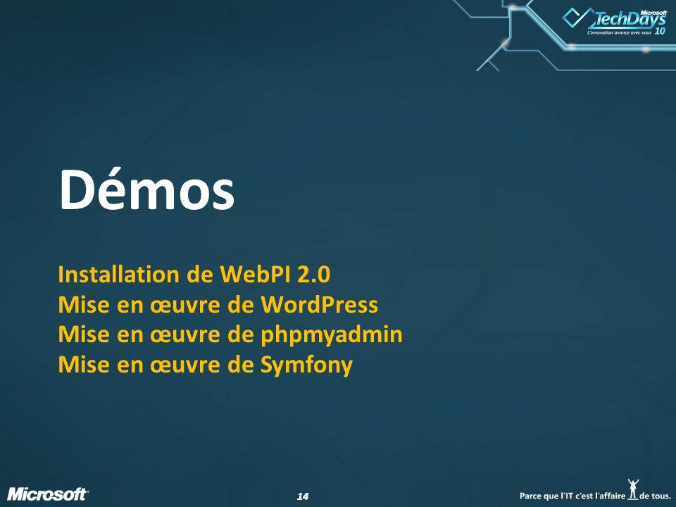 14 Démos Installation de WebPI 2.0 Mise en œuvre de WordPress Mise en œuvre de phpmyadmin Mise en œuvre de Symfony