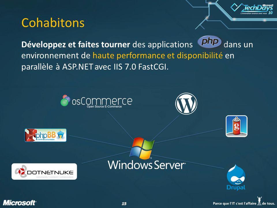 15 Cohabitons Développez et faites tourner des applications dans un environnement de haute performance et disponibilité en parallèle à ASP.NET avec IIS 7.0 FastCGI.