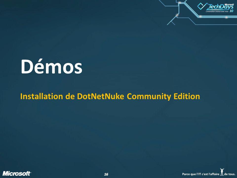 16 Démos Installation de DotNetNuke Community Edition